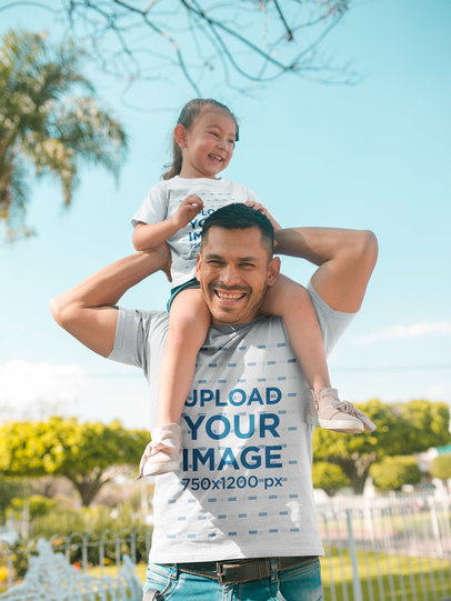 Family T-Shirt Mockup of a Dad with his Daughter Wearing Tshirts Outdoors a19846