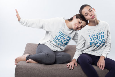 Bisexual Sweater Mockup of a Cute Couple Playing while Sitting on a Pillow a19997