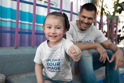 Dad and Girl Mockup Wearing T-Shirts Having Fun at the Park a19849
