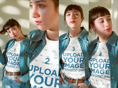 Multishot of a Woman Wearing a T-Shirt Mockup and a Denim Jacket a19000