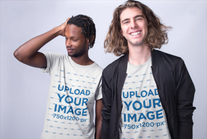 Tshirts Mockup of Two Interracial Friends Posing at a Photo Studio a19916