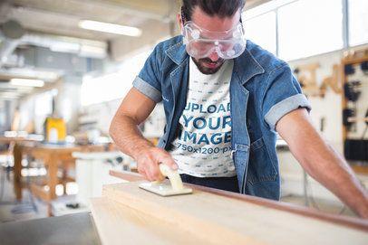 Carpenter Wearing a T-Shirt Mockup a20162