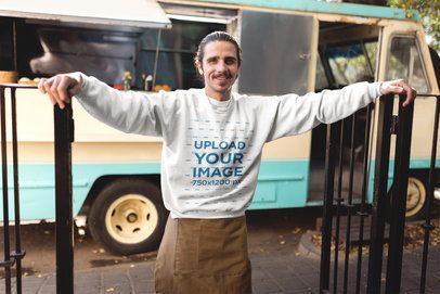 Happy Foodtruck Owner Wearing a Crewneck Sweater Mockup a20307