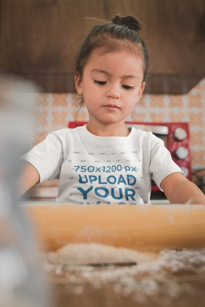 Baking T-Shirt Mockup of a Girl Learning How to Bake a20290
