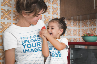 Mom and Daughter Wearing Tshirts Mockup Eating Strawberries a20288