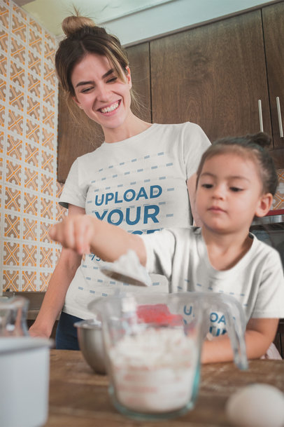 Mom and Daughter Wearing Tshirts Mockup While Baking a20280