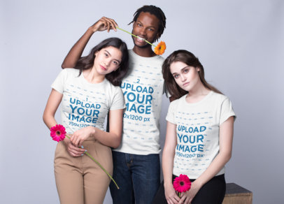 Interracial Group of Three Friends Wearing Shirts Template Featuring a Black Guy and Two Girls Holding Flowers a19953