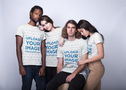 Group of Four Interracial Friends Wearing T-Shirts Mockup while Posing a19919