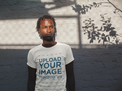 Black Dude with Short Dreadlocks Wearing a T-Shirt Mockup a20104