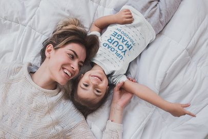 Little Girl Wearing a T-Shirt Template Being Happy with her Mom a20276