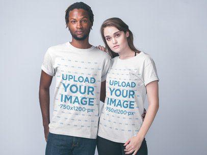 Interracial Couple Wearing Shirts Mockup a19948
