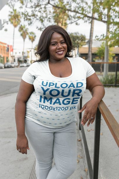 Plus Size T-Shirt Mockup of a Woman Outdoors 18223
