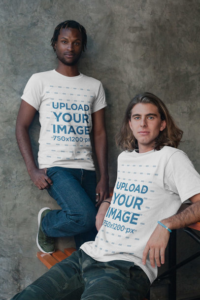 Black Dude with Short Dreadlocks and White Guy Wearing Interracial Shirts Mockup a20114