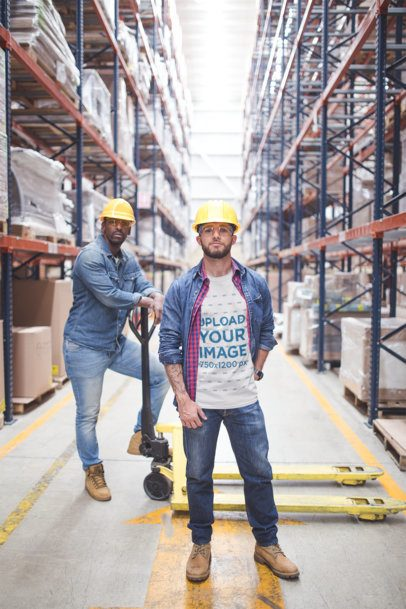 Industrial Worker Wearing a T-Shirt Mockup a20386