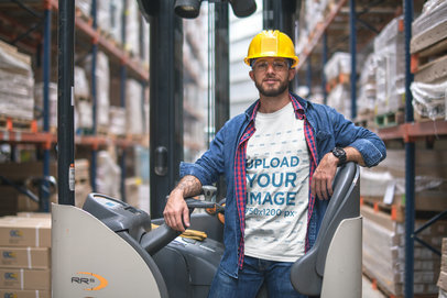 Forklift Operator Wearing a T-Shirt Mockup at the Warehouse a20378