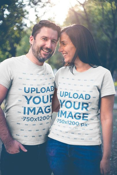 Happy Couple Wearing Tshirts Mockup Outdoors a20611