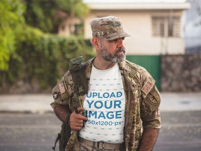 Urban T-Shirt Mockup Featuring a Soldier in Army Gear a20633