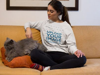 Beautiful Woman Wearing a Sweater Mockup with her Grumpy Cat a18784
