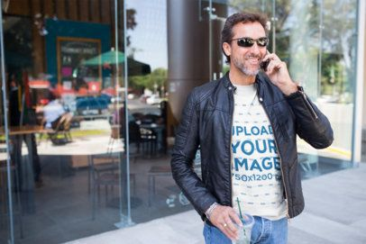 Middle Aged Man Wearing a T-Shirt Template Talking on the Phone a20317