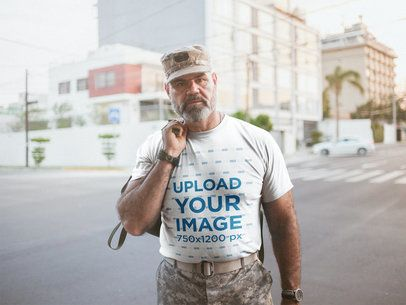 Mockup of a Veteran Soldier Wearing a T-Shirt During the Afternoon a20637