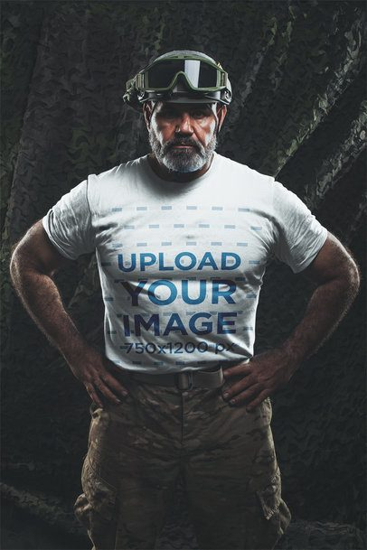 T-Shirt Mockup Featuring a Veteran Soldier Wearing Uniform a20641