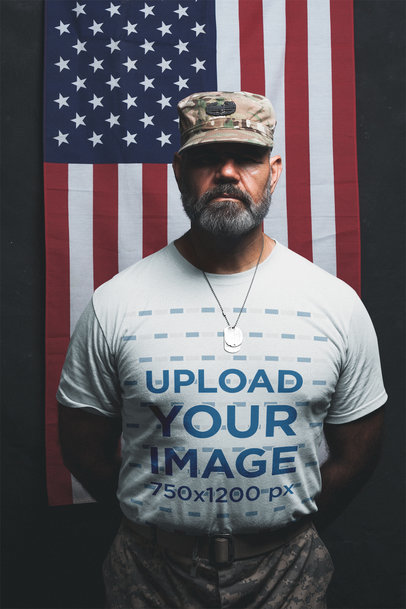 Mockup of a Veteran Soldier Wearing a T-Shirt in Parade Rest Position a20642
