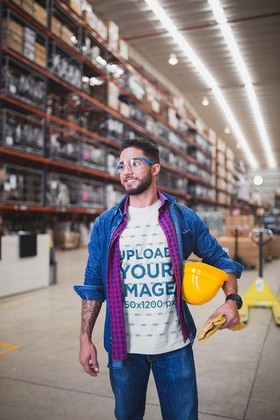 Portrait of a Happy Worker Wearing a T-Shirt Template at the Warehouse a40451
