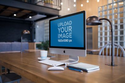 iMac Mockup Standing in a Modern Office Desk a20754