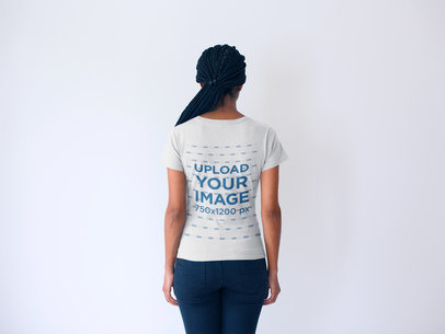Back Shot Mockup of a Woman with Braids Wearing a Tshirt 20741