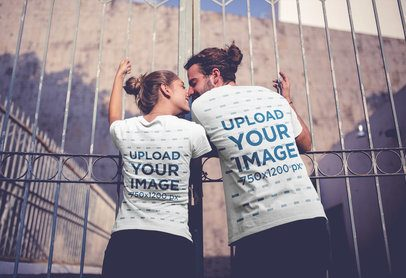 T-Shirt Mockup Featuring a Young Couple Kissing a20585