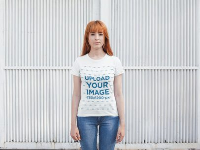 T-Shirt Mockup of a Girl with Red Hair 20748