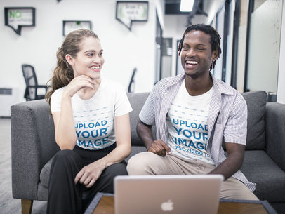 Interracial Group of Friends Wearing T-Shirts Mockup Having Fun at the Office a20509