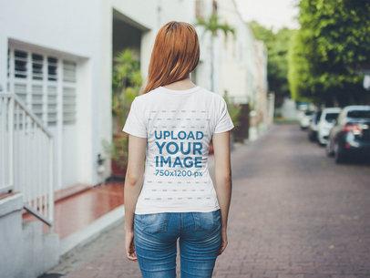 Back Shot Tshirt Mockup of a Girl Outside her House 20758