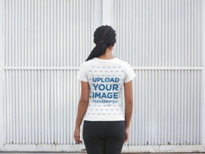 Back Shot Tshirt Mockup Featuring a Girl with Braids 20749