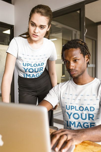 Interracial Group of Co-workers Wearing T-Shirts Mockup at the Office a20512