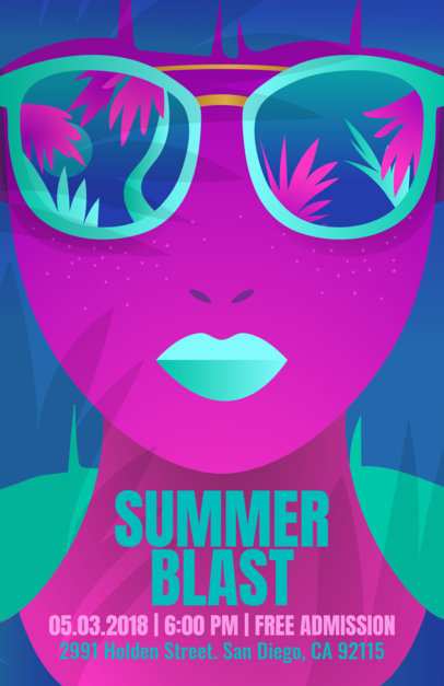 Flyer Template for a Summer Party with Minimalist Vector Art a147