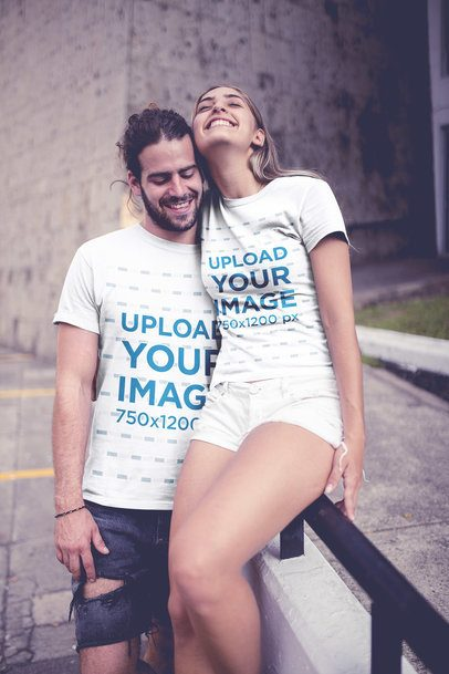 Couple Wearing T-Shirts Mockup in an Urban Environment a20589