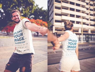 Double Shot of a Man Holding a Girl's Hand Wearing T-Shirts Mockup a20590