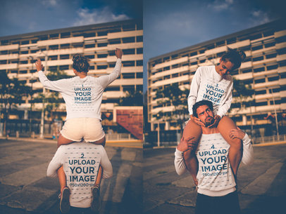 Double Shot of a Loving Couple Having Fun on the Street Wearing Crewneck Sweaters a20598