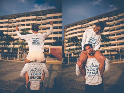 Double Shot of a Loving Couple Having Fun on the Street Wearing Crewneck Sweater Mockups a20598