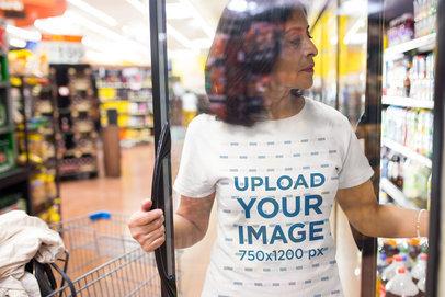 Lady Wearing a Tshirt Mockup at the Supermarket a20355
