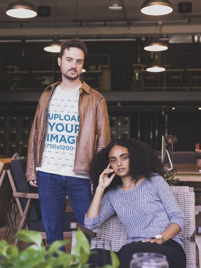 Man Wearing a Tshirt Mockup and a Brown Leather Jacket while with his Girlfriend a20393