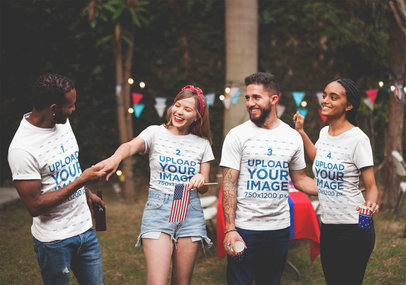 Interracial Group of Friends Wearing T-Shirts Mockup at a 4th of July BBQ Party a20838