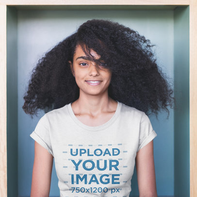 Portrait of a Black Woman with Curly Hair Wearing a T-Shirt Mockup a20405