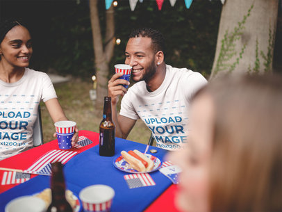 Happy Couple Wearing TShirts Mockup at a 4th of July BBQ Party a20820