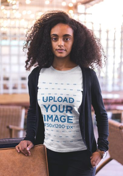 Mockup of a Woman with Curly Hair Wearing a T-shirt 20424