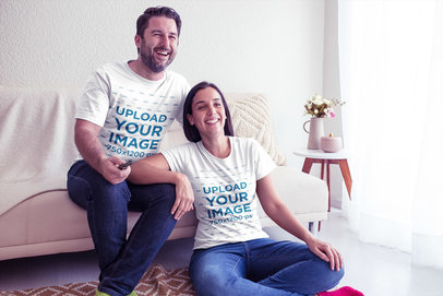 Happy Man and Woman Wearing Round Neck Tees Mockup at Home a20607