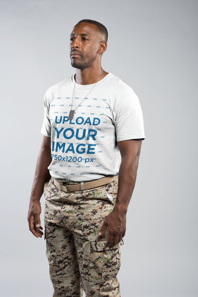 Portrait of a Veteran Wearing a Round Neck Tee Mockup in a Photo Studio a20931