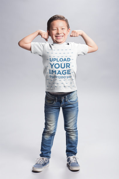 Asian Boy Wearing a T-Shirt Mockup Flexing his Biceps a20937