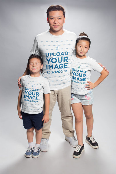 T-Shirt Mockup of an Asian Family a20951